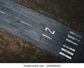 Plane Runway Through Airfield Aerial Top View Background, Empty Airstrip With Number
