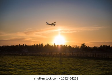 Plane Silhouette at Golden Hour