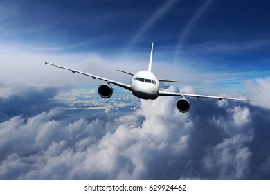 Plane in the sky flight travel transport airplane background nature