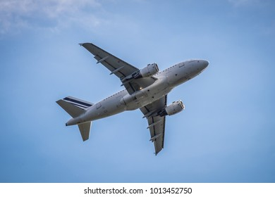Plane taking off in El Prat Barcelona airport, Catalonia, Spain.