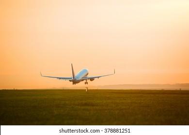 plane taking off sunset