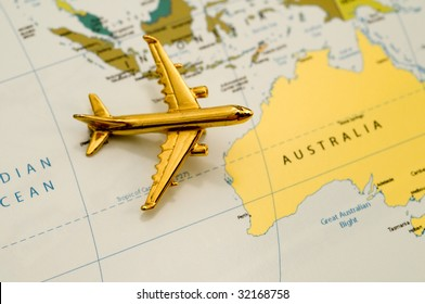 Plane Traveling to Australia. Map is Royalty Free Off a Government Website.