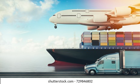 Plane trucks are flying towards the destination with the brightest. 3d render and illustration.
