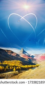 The plane turned unusually in the sky, leaving an inversion trace in the form of a round loop over the Alps. Drawing is like a heart. Inversion heart over the Matterhorn