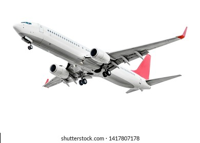 Plane with two turbofan engines, landing gear and red winglets, isolated on white