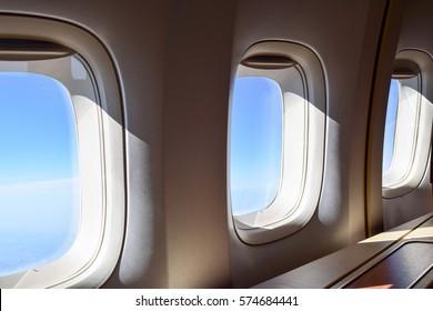 plane window of business class