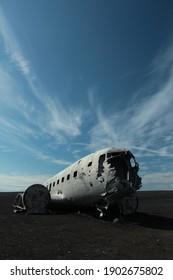 plane wreck in lava field in iceland