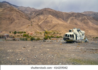 Plane wreck lying on the barren land in Afghanistan