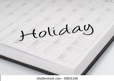 """planer showing """" holiday """"."""