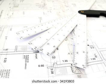 Planes of architecture on white background