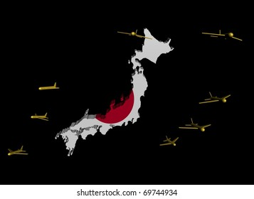 planes departing Japan map flag illustration