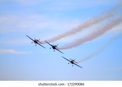 Planes performing acrobatic flight