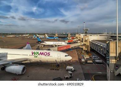Planes at Schiphol Airport in Amsterdam, Netherlands, May 2017.