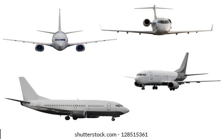 planes with and without landing gears isolated on white background