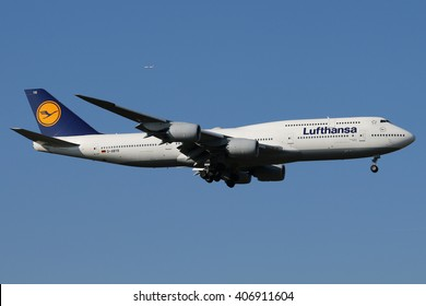 Planespotting at the airport of Frankfurt/Germany 27.02.2016  A Lufthansa Boeing 747 is landing on runway 07C