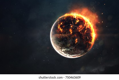 Planet cataclysm. Science fiction space visualization. Cosmic explosion. Elements of this image furnished by NASA