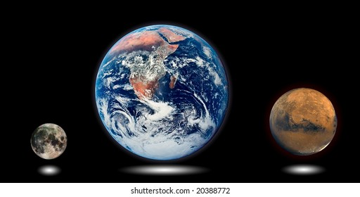 Planet comparison with black background