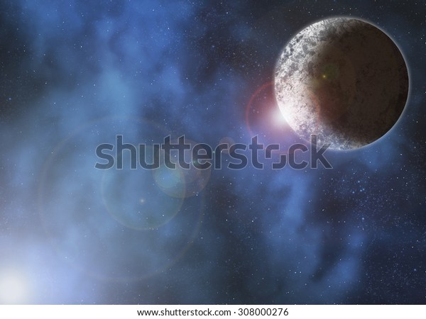 planet in deep space with clouds surrounding it and a bright light causing lensflare