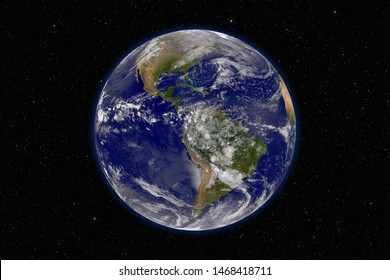 Planet Earth against dark starry sky background, elements of this image furnished by NASA