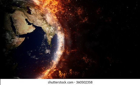 Planet Earth Apocalypse Concept (Elements of this image furnished by NASA)