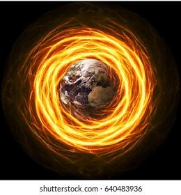Planet Earth Apocalypse in fiery lightning