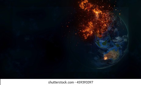Planet Earth Apocalypse Global Warming War Chaos Concept (Elements of this image furnished by NASA)