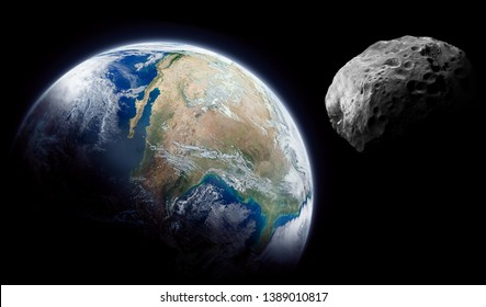 Planet Earth and big asteroid in the space. Dark background. Elements of this image furnished by NASA