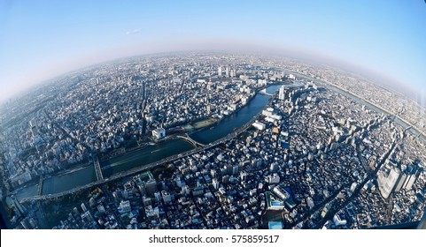 Planet Earth. Big city view from the highest tower in Tokyo. Sumida. Japan.