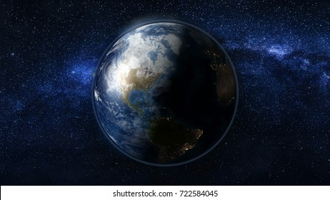 Planet Earth in black and blue Universe of stars. Milky Way in the background. Day and night city lights changes. North and South America zone. 3D Animation. Elements of this image furnished by NASA