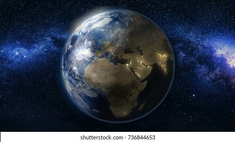 Planet Earth in black and blue Universe of stars. Milky Way in the background. Day and night city lights changes. Africa and Europe zone. 3D Animation. Elements of this image furnished by NASA