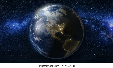 Planet Earth in black Universe of stars. Milky Way in the background. Day and night city lights. North and South America zone. High detailed 3D Animation. Elements of this image furnished by NASA