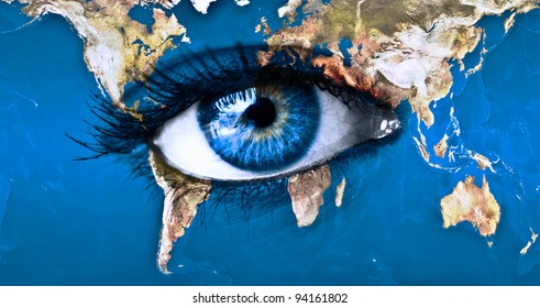 """Planet earth and blue eye - """"Elements of this image furnished by NASA"""""""