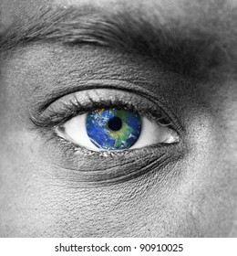"""Planet earth in blue human eye - """"Elements of this image furnished by NASA"""""""