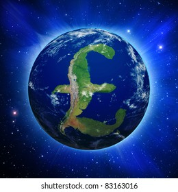 Planet Earth with British Pound sign shaped continents and clouds over a starry sky. Planet has clipping path.