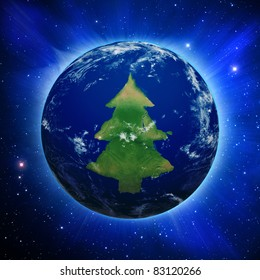 Planet Earth with Christmas tree shaped continents and clouds over a starry sky. Contains clipping path of planet