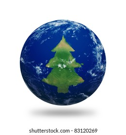 Planet Earth with Christmas tree shaped continents and clouds over a starry sky. Contains clipping path of planet.