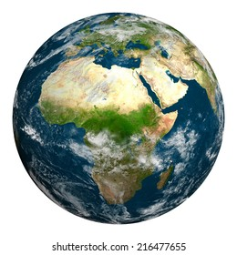 Planet earth with clouds. Africa, part of Europe and Asia. Elements of this image furnished by NASA.