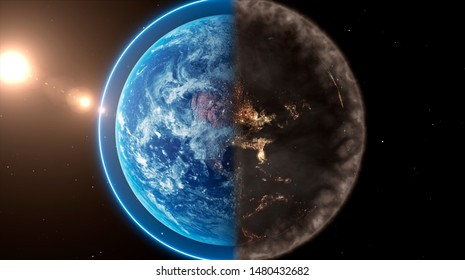 Planet Earth concept showing one half polluted and the other clean
