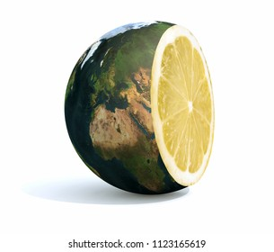 planet earth cut with an lemon inside, 3d illustration. Elements of this image furnished by NASA.