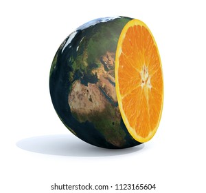 planet earth cut with an orange inside, 3d illustration. Elements of this image furnished by NASA.