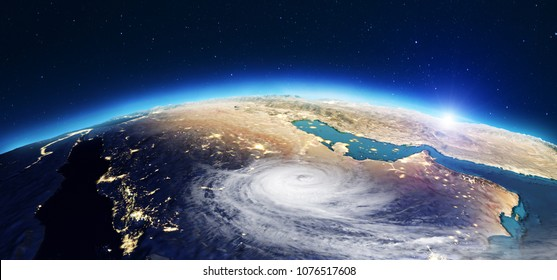 Planet Earth cyclone. Elements of this image furnished by NASA. 3d rendering