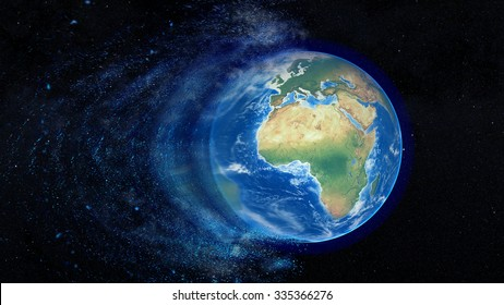 Planet Earth Decomposing Splash - Elements of this image furnished by NASA.