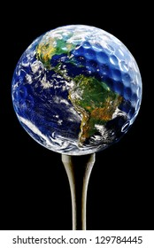 Planet Earth depicted as a Golf Ball on black (original image of planet Earth is a public domain image from NASA)