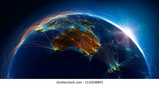 Planet Earth with detailed relief is covered with a complex luminous network of air routes based on real data. Australia and New Zealand. 3D rendering. Elements of this image furnished by NASA