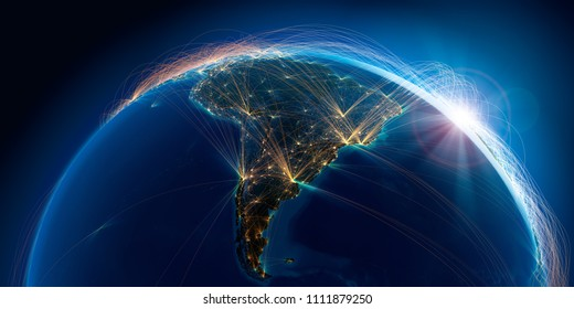 Planet Earth with detailed relief is covered with a complex luminous network of air routes based on real data. South America. 3D rendering. Elements of this image furnished by NASA