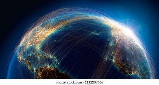 Planet Earth with detailed relief is covered with a complex luminous network of air routes based on real data. Atlantic Ocean, America & Europe. 3D rendering. Elements of this image furnished by NASA