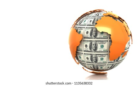 Planet Earth from dollar bills