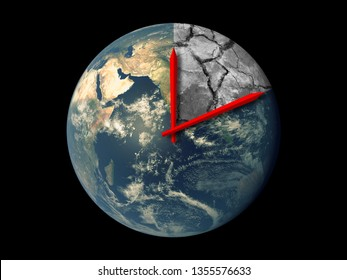Planet Earth Ecology Death Countdown concept. Red hands clock on Earth running towards the natural climate change disaster isolated on black