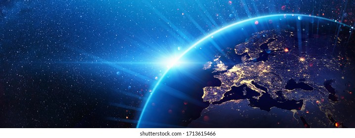 Planet Earth Europe from the Space at Night. Elements of this Image Furnished by NASA - Shutterstock ID 1713615466