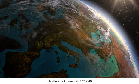 Planet earth Europe zone with night time and sunrise. Highly detailed. 3d Render using satellite imagery (NASA)